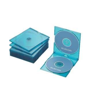 CD/DVD/Blu-ray対応スリムケース 2枚収納×10 クリアブルー CCD-JSCSW10CBU