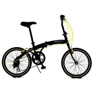 20型 折りたたみ自転車 アングリフ(ブラック×イエロー/6段変速) BA-100 【組立商品につき返品不可】