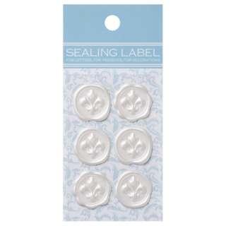 シーリングいろラベル[ゆりの紋章/パールホワイト](名刺サイズ:1シート・6片) ML119