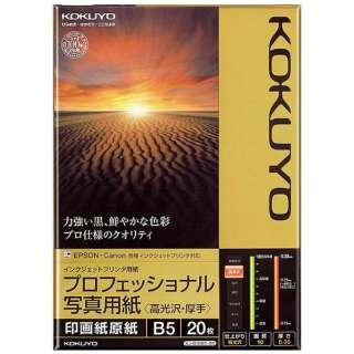 インクジェットプリンター用 プロフェッショナル写真用紙 高光沢・厚手 (B5サイズ・20枚) KJ-D10B5-20