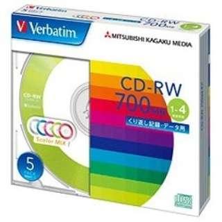 SW80QM5V1 データ用CD-RW カラーミックス [5枚 /700MB]