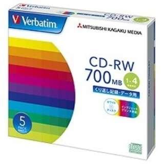 SW80QP5V1 データ用CD-RW ホワイト [5枚 /700MB /インクジェットプリンター対応]