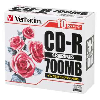 SR80PP10 データ用CD-R ホワイト [10枚 /700MB /インクジェットプリンター対応]