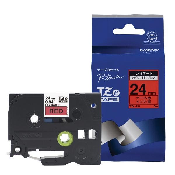ピータッチ(P-touch) ラミネートテープ (赤テープ/黒文字/24mm幅) TZe-451
