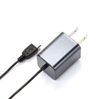 [micro USB]ケーブル一体型AC充電器 (1.5m・ガンメタル)PG-SPMUAC01GM