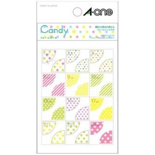手帳用シール Candy キャンディ 05248 [1シート /24面 /マット]