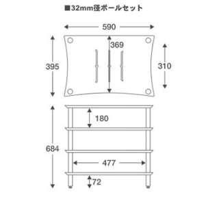 Audio rack (dark oak shelf board, silver pole) Q4SLIT series 32mm diameter  Q4SL32S-DO