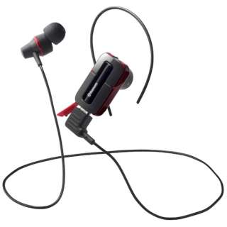 スマートフォン対応[Bluetooth3.0] 片耳/両耳対応ステレオヘッドセット USB充電ケーブル付 (ワイヤレス/延長・レッド) BSHSBE32RD