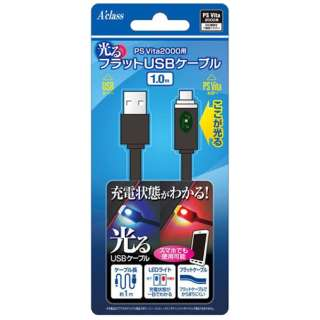 PS Vita2000用光るフラットUSBケーブル【PSV(PCH-2000)】