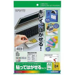 紙ラベル 貼ってはがせるタイプ カラーレーザー&インクジェット KPC-HH124-20 [A4 /20シート /24面]