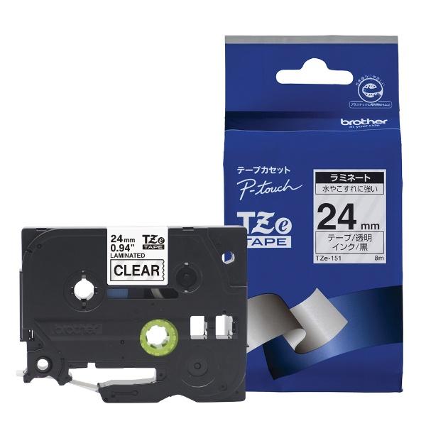 ピータッチ(P-touch) ラミネートテープ (透明テープ/黒文字/24mm幅) TZe-151