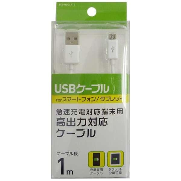 [micro USB]充電USBケーブル (1m・ホワイト)BKS-HUCSP10W [1.0m]