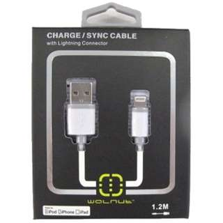 iPad/iPad mini/iPhone/iPod対応 Lightning-USBケーブル 充電・転送 (1.2m・グレー) MFi認証 WAL-C001