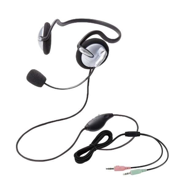HS-NB05SV ヘッドセット シルバー[φ3.5mmミニプラグ /両耳 /ネックバンドタイプ]