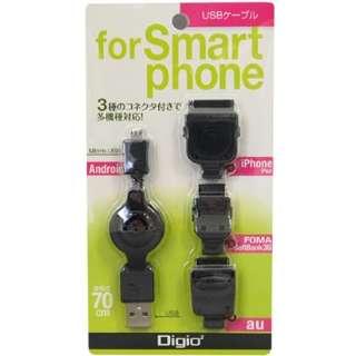 携帯マルチ充電ケーブル(USBケーブル+変換コブラック)