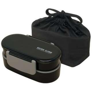 モードライン 巾着袋付2段弁当箱(670ml) KQD3 ブラック