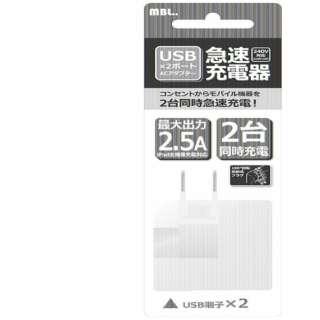 スマホ用USB充電コンセントアダプタ(出力2ポート合計2.5A/回転式プラグ) AC22U176 ホワイト