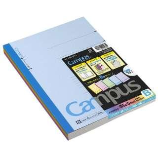 キャンパスノート(カラー表紙)5色パック(普通横罫中横罫) ノ-3CBNX5