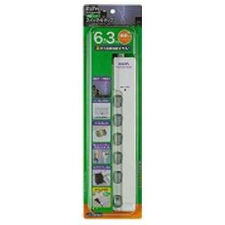 LEDランプスイッチ付タップ 横挿し (2ピン式・6個口・ホワイト・3.0m) WLS-LY6300RS
