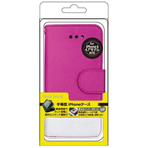iPhone6用 手帳型 手帳型タイプ合皮カバー ピンク/ホワイト kuboq OWL-CVIP45PW