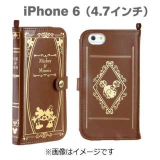 iPhone6用 手帳型 Old Book Case ディズニー・ミッキー&ミニー/ブラウン IP6DSOLDBOOK47MKMNBR