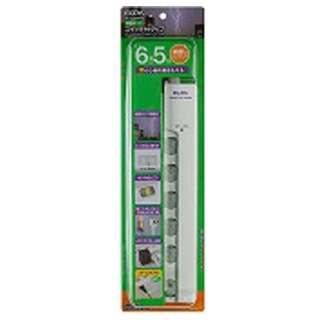 LEDランプスイッチ付タップ 横挿し (2ピン式・6個口・ホワイト・5.0m) WLS-LY6500RS
