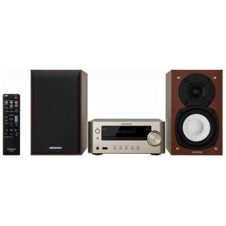 【ワイドFM対応】ミニコンポ(iPod・USB・CD対応)ゴールド K-505-N