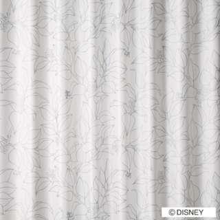 ドレープカーテン ミッキー/スリップリーフ(100×135cm/シルバー)【日本製】