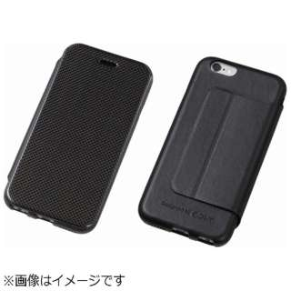 iPhone6用 手帳型レザーケース Carbon Fiber & Genuine Leather Case ブラック DCS-IP6LCABK