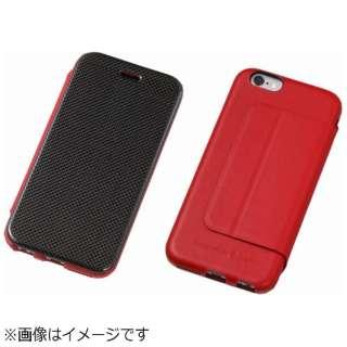 iPhone6用 手帳型レザーケース Carbon Fiber & Genuine Leather Case レッド DCS-IP6LCARD