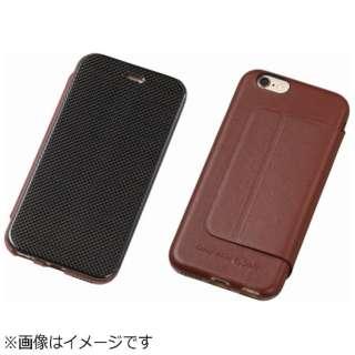 iPhone6用 手帳型レザーケース Carbon Fiber & Genuine Leather Case ブラウン DCS-IP6LCABR