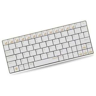【iPad / iPhone対応】ワイヤレスキーボード[Bluetooth3.0・iOS] 5.6mmウルトラスリム 充電式 iOS配列 (英語80キー・ゴールド) E6300GL