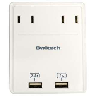 マルチACアダプタ (USB2ポート・2ピン式・2個口) OWL-ACU2A2WH ホワイト