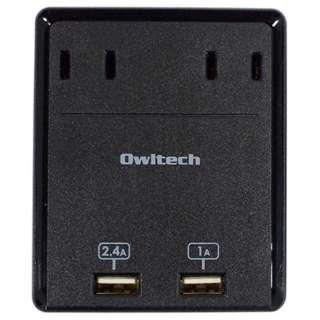 マルチACアダプタ (USB2ポート・2ピン式・2個口) OWL-ACU2A2BK ブラック