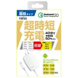 [micro USB]ケーブル一体型AC充電器 2A (1m・ホワイト)RK-ADA32W [1.0m]