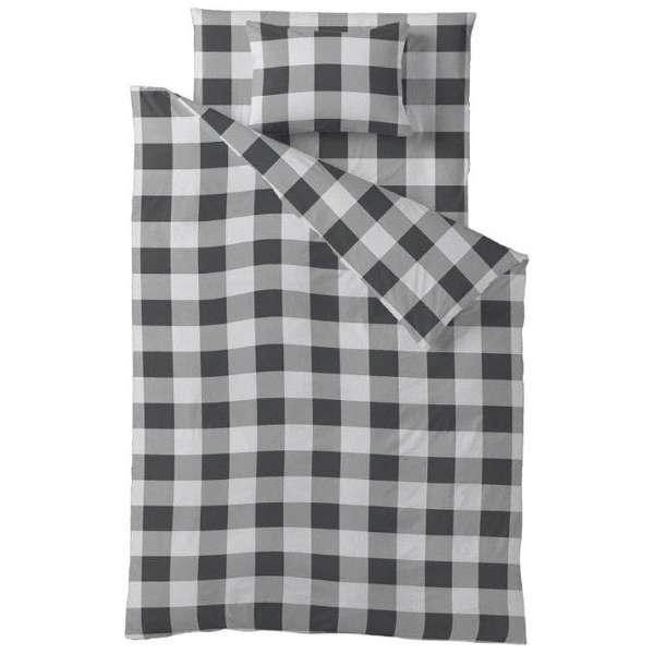 【掛ふとんカバー】チェックプリント キングロングサイズ(綿100%/230×230cm/ブラック)