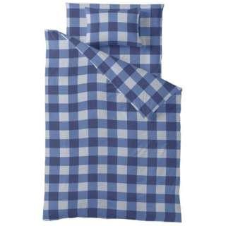 【ボックスシーツ】チェックプリント ダブルサイズ(綿100%/140×200×30cm/ブルー)【日本製】