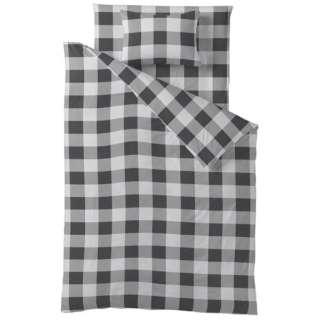 【ボックスシーツ】チェックプリント ダブルサイズ(綿100%/140×200×30cm/ブラック)【日本製】