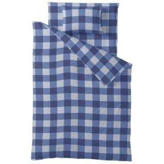 【ボックスシーツ】チェックプリント クィーンサイズ(綿100%/170×200×30cm/ブルー)【日本製】