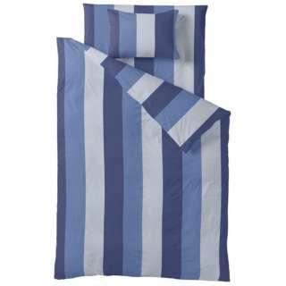 【ボックスシーツ】ストライププリント ダブルサイズ(綿100%/140×200×30cm/ブルー)【日本製】[生産完了品 在庫限り]