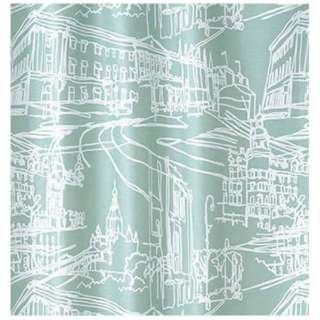 ドレープカーテン マチナミ(100×178cm/ブルーグリーン)【日本製】[生産完了品 在庫限り]