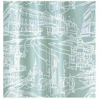 ドレープカーテン マチナミ(100×135cm/ブルーグリーン)【日本製】