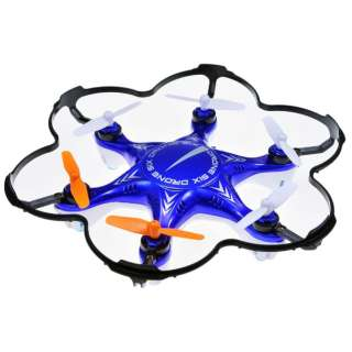 【ドローン】2.4GHz 6枚羽根マルチコプター ドローン6 (ブルー) MODE2
