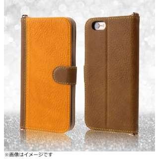 iPhone6用 手帳型 バイカラー ブックレザーケース 合皮 ダークブラウン/キャメル RT-P7LBC7/DKK
