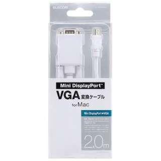 2.0m[Mini DisplayPort ⇔ D-sub15pin]ケーブル AD-MDPVGAWHシリーズ ホワイト AD-MDPVGA20WH