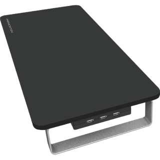 スマホ用USB充電コンセントアダプタ モニタースタンド一体型 4A (コード長・3ポート) PPS-UTAP7BK ブラック