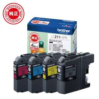 LC211-4PK 【ブラザー純正】インクカートリッジ4色パック LC211-4PK 対応型番:DCP-J968N、DCP-J767N、DCP-J567N、MFC-J887N、MFC-J737DN 他 4色セット