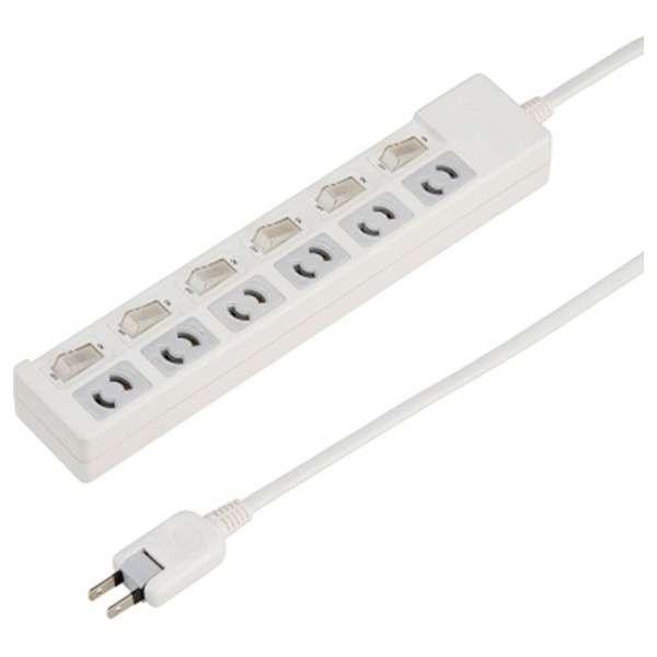 個別スイッチ付抜け止めタップ(6個口・5m)Y02KN665WH ホワイト
