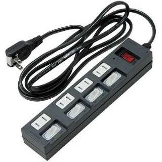 個別集中スイッチ付節電タップ4個口2m黒 Y02BKS452BK