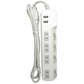 4コンセント節電タップ+2USBポート計2.4A1.5M WH M4214